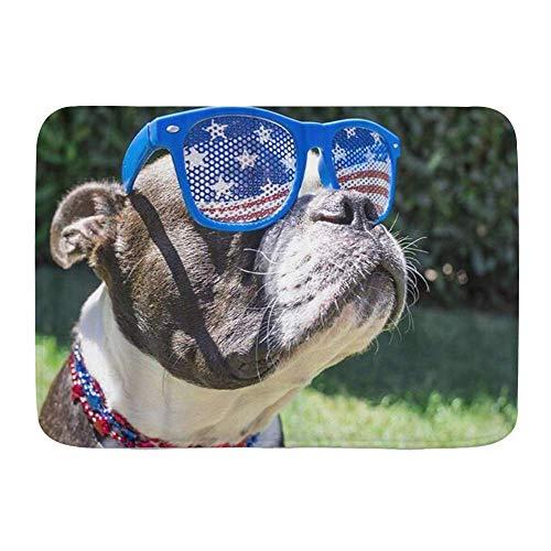 N\A Alfombra de baño, Perro Boston Terrier con Gafas de Sol de Estrellas y Rayas el 4 de Julio, Alfombrillas de Felpa para decoración de baño con Respaldo Antideslizante