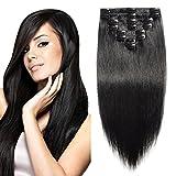 Elailite Extension Clip Capelli Veri 8 Fasce Piene a Punte Modello Migliorato - 100% Remy Human Hair Naturali 45cm 100g #1 Jet Nero
