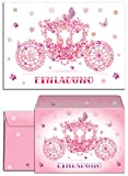 12 Einladungskarten + 12 Umschläge zum Kindergeburtstag 'Prinzessin-Party' für Mädchen / Kutsche / rosa / Schmetterlinge / märchenhafte Einladungen zum Geburtstag /(12 Karten + 12 Umschläge)