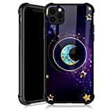 iPhone 12 Pro Max Case,Moon Star Mandala iPhone 12 Pro Max Cases for Girls,Tempered Glass Back Cover Anti Scratch Reinforced Corners Soft TPU Bumper Shockproof Case for iPhone 12 Pro Max Golden Starry