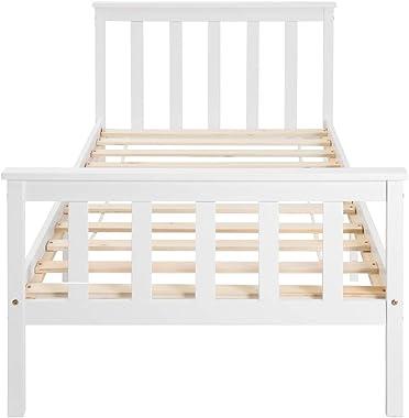 Takefuns Lit simple en bois de pin massif avec sommier à lattes et tête de lit - 200 x 90 cm - Blanc laqué