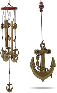 """BANBERRY DESIGNS Anchor Decor - Nautical Sailboat Wind Chime - 25"""" Indoor Outdoor Windchimes– Mobile Musical Garden Chimes for Home Decoration"""