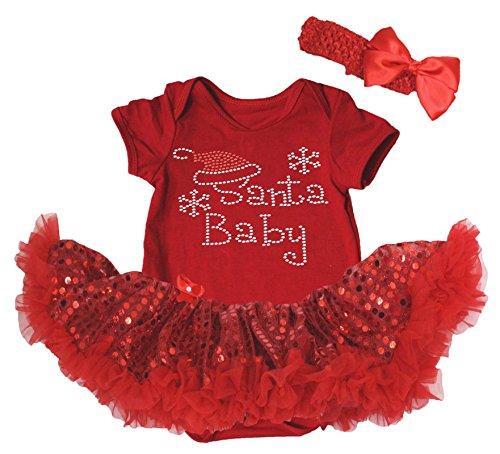 Robe de Noël Strass Père Noël bébé Rouge Body à paillettes Tutu Barboteuse Ensemble Nb-18 m - Rouge - S