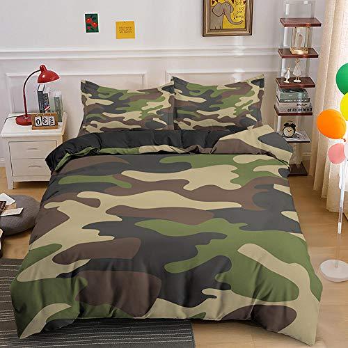Funda nordica 180x220 Camuflaje del ejército Ropa de Cama Muy Suave Transpirable 1 Fundas De...