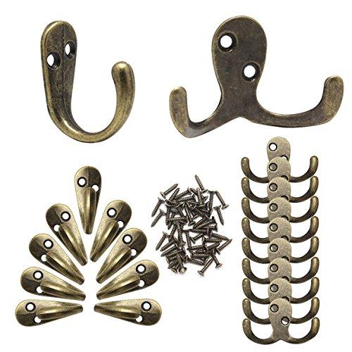 Ganchos decorativos para pared para colgar llaves, sombreros o ropa, de bronce rústico, 10ganchos dobles, 10ganchos sencillos y 50tornillos