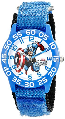 Marvel Kids W001726 Captain America, Analoge Armbanduhr, Quarz, blau