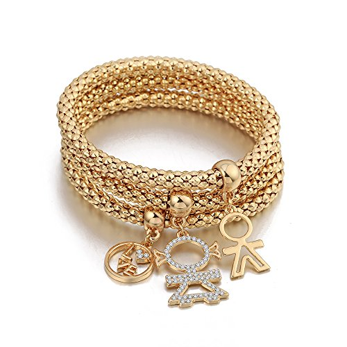 Charm Armband für Frauen, Stretch-Mais-Kette Armreif Gold oder Silber Armreif für die Freundschaft (Vergoldet)