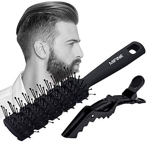 Mifine Cepillo Pelo Profesional para Hombre - Cepillos de Secado Cabello Peine para Hombres Mujer, Cerdas Cabeza Redonda para Cera Peinado, Largos, Gruesos, Finos, Rizados Y Desenredante