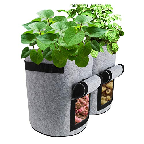 TQQFUN 2 Pack 7 Gallon Smart Potato Bags Velcro Window Vegetable Bags,...