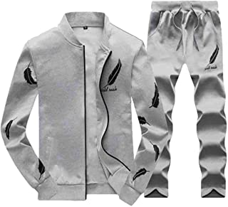 Maweisong Men's Work Out Full Zip Sports Two Piece Set Sweat Outfits Sport Casual Beachwear