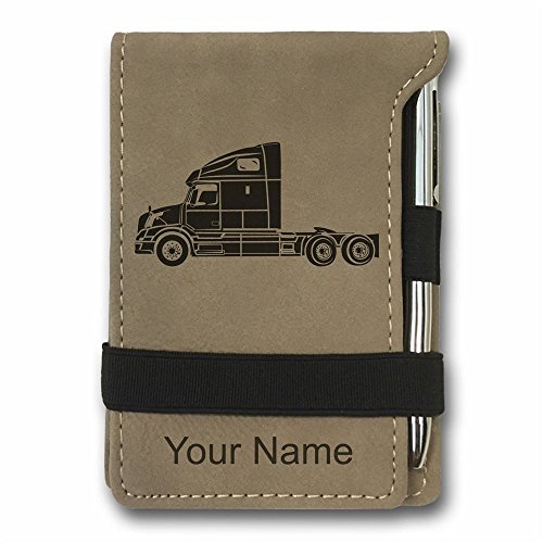 Mini Notepad, Truck Cab, Personalized Engraving Included (Light Brown)