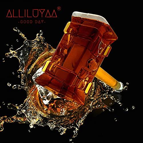 Bouteille de Whisky,Bouteille de Vin en Verre Marteau de Thor,Créatives Transparent Carafe à Whisky,Bouteille de vin en forme de marteaupour Whisky,Vodka et Vin(400 ml)