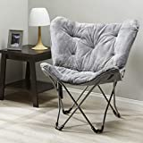 Mainstay Butterfly Chair in Grey Faux Fur Finish