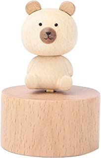 Kids Music Box, Cute Animal Wooden Carved Music Box Beech Wood Crafts Musical Toy Kids Gifts Home Decor(Little Bear)