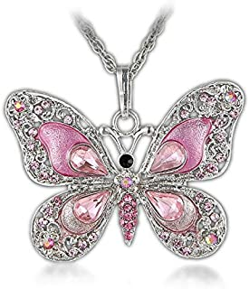 Aysekone Beautiful Alloy Rhinestone Butterfly Long Necklaces Sweater Necklace Fashion Enamel Butterfly Necklace for Women Girls(Pink)