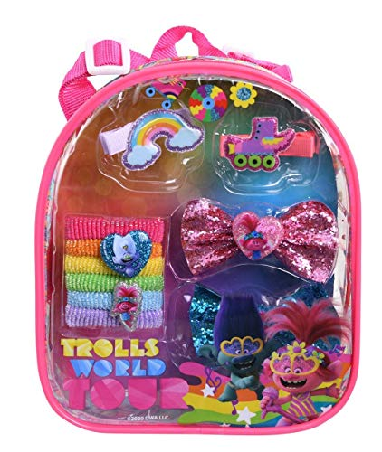 Trolls 2 Hair Accessory Backpack Set, Princess Poppy Hair Styling Kit in Clear Bag with Elastic Hair Ties, Sparkling Bow Ties & Snap Clips, Troll Hair Accessories Gift Set, Charm Goodies for Girls