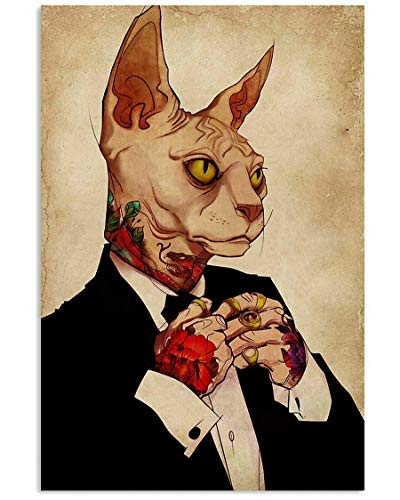 Cat Tin Logo Vintage Hairless Cat Suit Tattoo Poster Bar Club Family Cafe Restaurant Man Cave Wall Decoration 12x16 Inches Gift