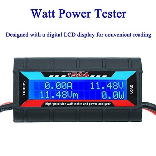 ARCELI 150A Watt Meter Analizador de Potencia RC de Alta precisión con Pantalla LCD Digital para Voltaje (V) Corriente (A) Potencia (W) Carga (Ah) y energía (WH) Medición