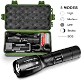 Oscaring T6 Upgrade LED Flashlight Kits, 5 Modes Tactical Zoomable Torch Waterproof Flashlight