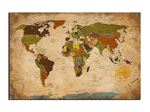 Alu-Dibond Wandbild ANTIK BEIGE WELTKARTE Globus AB-822 Butlerfinish® 60 x 40 cm, Wandbild Edel gebürstete Aluminium-Verbundplatte, Metall effekt Eyecatcher!
