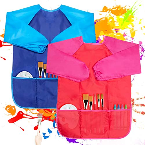 VCOSTORE 2 Pcs Kids Art Smock Waterproof Toddler Paint Apron Long Sleeve with 3 Pockets for Kids Age 2 3 4 5 6 Years Old Painting, Baking, Feeding Smock (Bule + Red)