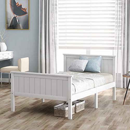 ABOTHB Single Bed White Bed Frame Strong for Kids Children 90x190cm Sleeping Bed with Headboard and Footboard Bedroom