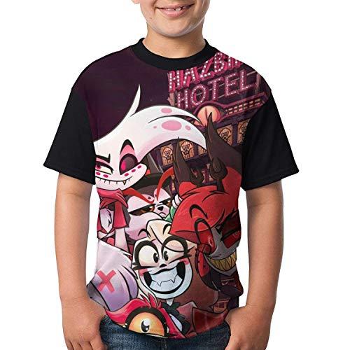 Teenager Tops Graphic Hazbin Hotel D T Shirts Short Sleeve Tee Shirts 3D Printed T-Shirt for Boys/Girls Large