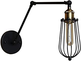HSB Adjustable Modern Wall Lamp Personality Creative Loft Vintage Industrial Wall Lamp Warehouse Restaurant Bar Club Outdoor Wrought Iron Bird Cage