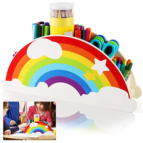Schreibtischorganizer Stiftehalter Stifteköcher von Büro Organizer, Tisch Organizer Schreibtisch Zubehör für Stifte Büromaterial, Regenbogen Stiftebox für Kinder