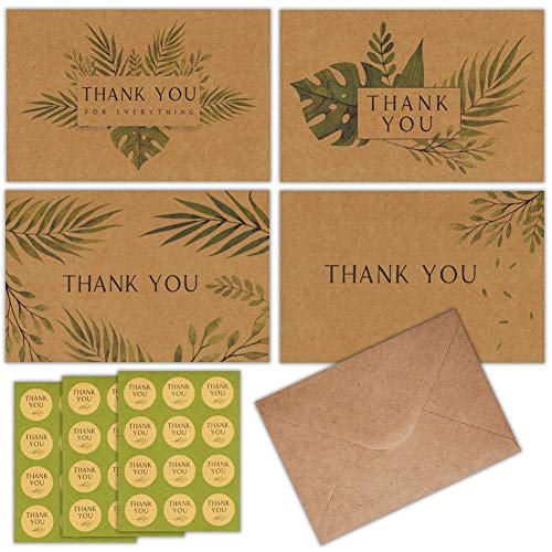Kraft Thank You Cards 120 Thank You Notes w/Stickers & Envelopes – Blank Note Cards – Perfect for Weddings, Bridal Showers, Graduation, and Baby Showers