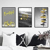 """灰色のポスター黄色の自転車アート道路標識キャンバスプリントポスターとプリント壁アート写真リビングルームの家の装飾27.5""""x35.4""""(70x90cm)フレームレス"""