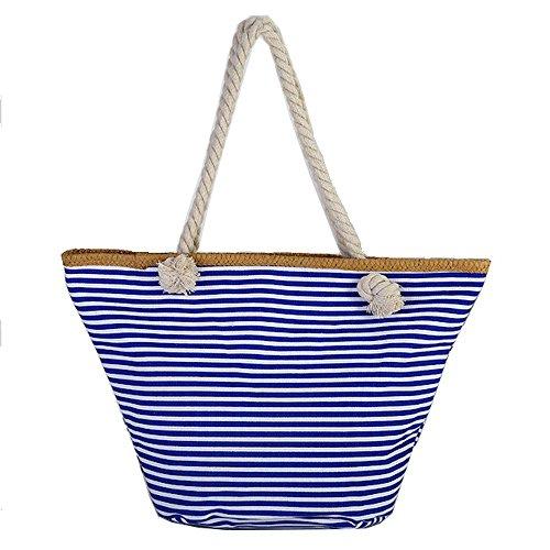 T-Baggs grote XXL dames marine strandtas/shopper met klassiek maritieme strepen blok patroon smalle strepen