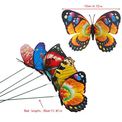 zhiwenCZW coloré fée Papillon sur bâton Ornement Maison Jardin Vase pelouse Art Artisanat décor