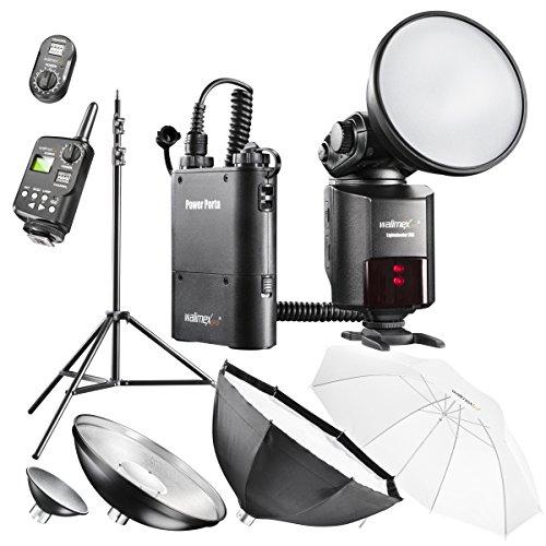 Walimex Pro Light Shooter 360 Portables Studio Set (Funkauslöser, Stativ, Softbox, Beauty Dish, Durchlichtschirm)