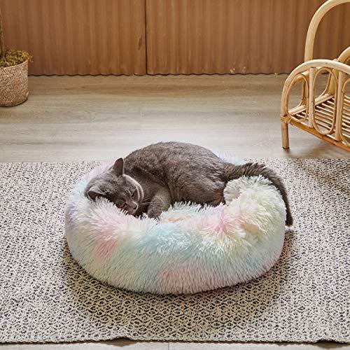 Uozzi Bedding Rundes Haustier-Hundebett aus Plüsch-Kunstfell, bequemes Donut-Kissen für Hunde und Katzen, weich und warm für den Winter, 38,1 x 38,1 cm, bunter Regenbogen