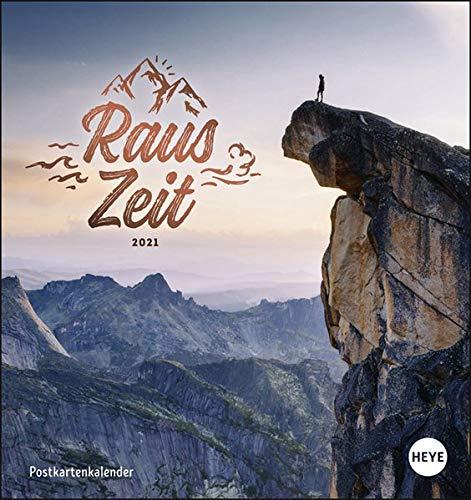 Rauszeit Postkartenkalender 2021 - Kalender mit perforierten Postkarten - zum Aufstellen und Aufhängen - mit Monatskalendarium - Format 16 x 17 cm