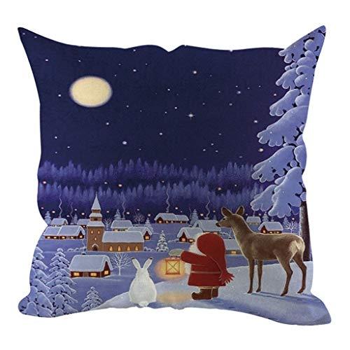 Allegorly Weihnachten Serie Zierkissenbezüge Leinen Kissenbezug Weihnachtsmann Drucken Kissenhüllen Karikatur Kopfkissenbezug Mit Reißverschluss Für Sofa Auto