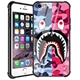 Doulounan iPhone 6 Case, Street Fashion iPhone 6s Luxury Cool for Boys Girls Slim Fit Tempered Glass Back Cover with Soft Silicone TPU Shockproof Bumper Case for iPhone 6/6s (Pink Blue Shark)