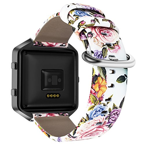 YOUKEX Compatible with Fitbit Blaze Bands, Floral Printed Leather Wristband with Black Stainless Steel Frame for Fitbit Blaze Smartwatch Women Men