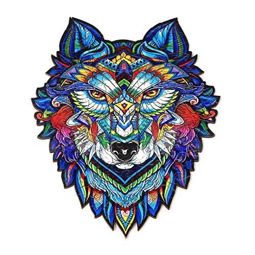 Puzzle Jigsaw Holzpuzzle mit 300 bunten Tierteilen für Erwachsene und Kinder (Wolf)