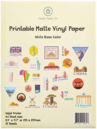 Hayes Paper Co. Utskrivbart vinylklistermärke papper för skrivare – A4-klistermärke ark för utskrift – matt klistermärkespapper, vattentätt bläckstråleutskriftspapper i matt vitt (15 ark)
