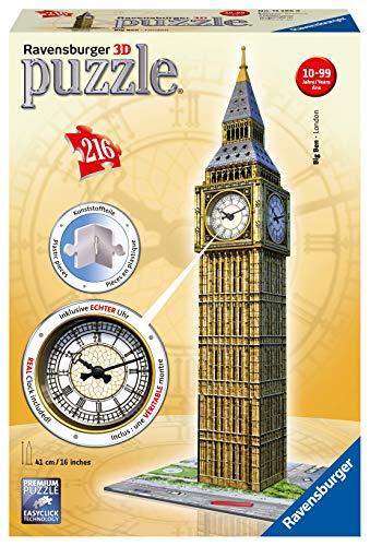 Ravensburger - Big Ben Reloj automático, puzzle 3D, 5.5x5.5x39 cm (125869)
