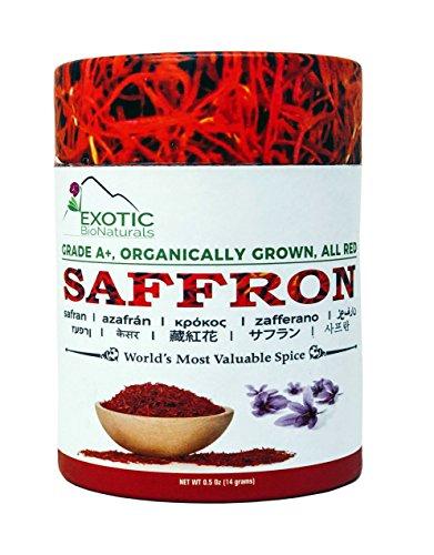 SAFFRON, All Red Super Negin Grade A+ Premium Quality Spice for Paella, Risotto, Persian Tea, Persian Rice and Golden Milk 14 Grams (0.5Oz)