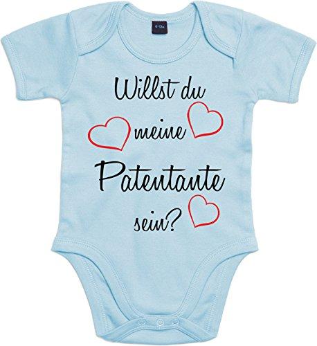 Mister Merchandise Baby Body Willst du meine Patentante sein? Strampler liebevoll bedruckt Pate Patenschaft Taufe Hellblau, 3-6