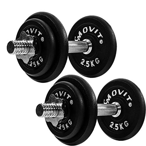 Movit® Kurzhantel PRO Set, Gusseisen Hantel, 2X 10kg, Stange 30mm Standardnorm, Griff gerändelt, Sternverschlüsse, Hantel Set Kurzhantelset Gewichte