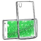 MoEx® Transparente Silikonhülle im Chrome-Style kompatibel mit Sony Xperia Z5 Compact   Flexibler Schutz mit Hochglanz Metallic Rahmen, Silber