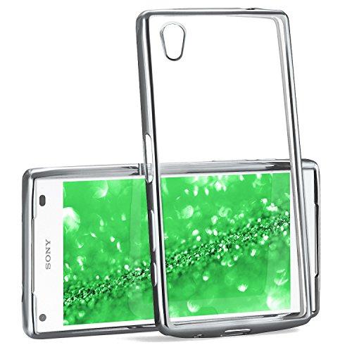 MoEx® Transparente Silikonhülle im Chrome-Style kompatibel mit Sony Xperia Z5 Compact | Flexibler Schutz mit Hochglanz Metallic Rahmen, Silber