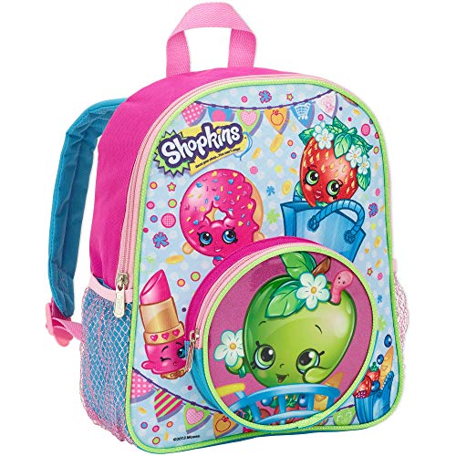 Shopkins Girls 12 School Backpack with Round Apple Blossom Front Pocket ,Pink ,12 Small