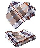 Hisdern Extra Long Check Krawatte Taschentuch Herren Krawatte & Einstecktuch Set Braun und Blau