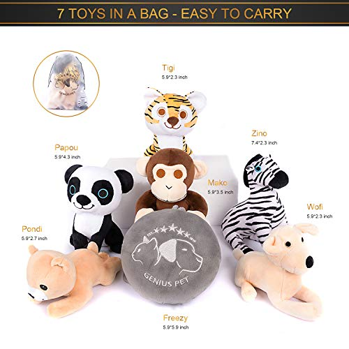 Genius Pet 7 Pack Dog Durable Hard Squeaky Animal Cute Toys - Stuffed Plush Chew Dog Toys for Small Puppies...